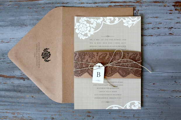 Lace and burlap wedding invitations