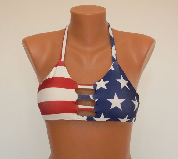 PADDED American flag strappy high neck halter top-Swimwear-Swimsuit-Bathing suit-Bikini-4th July-!!! Choose your size !!! XS-S-M-L-XL