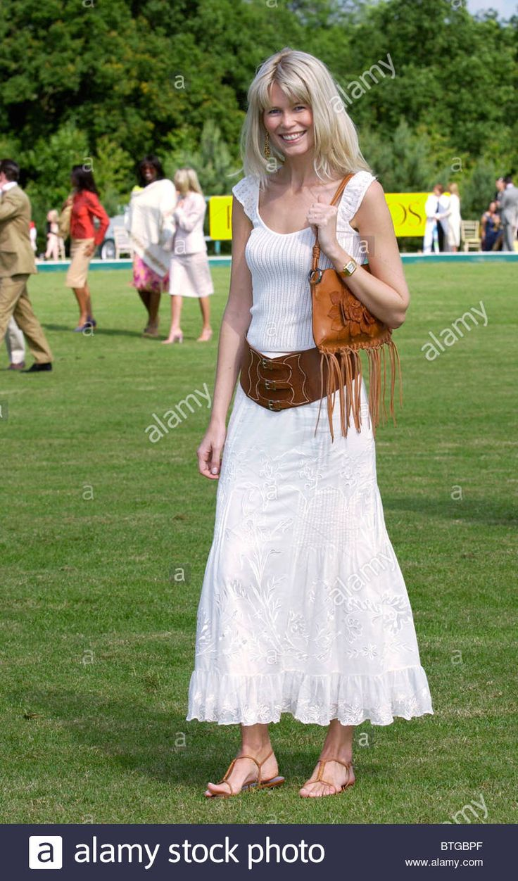 Model Claudia Schiffer at charity polo match to raise funds for local youth charities at Ashe Park in Hampshire Stock Photo