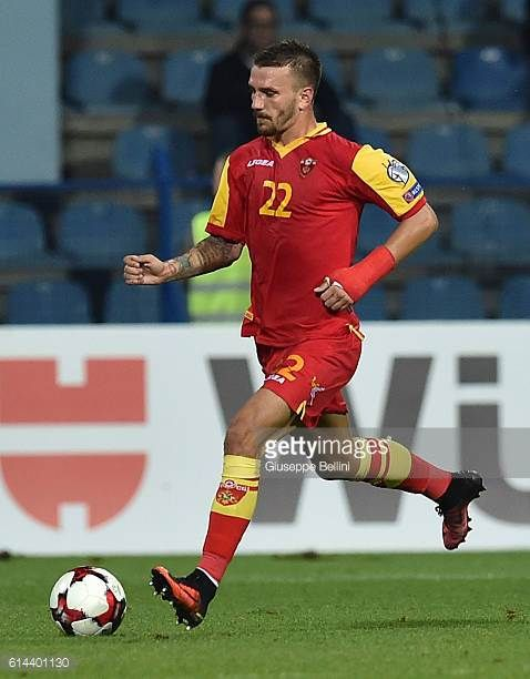 Marko Simic of Montenegro in action during the FIFA 2018 World Cup Qualifier between Montenegro and Kazakhstan at Podgorica City Stadium on October 8...