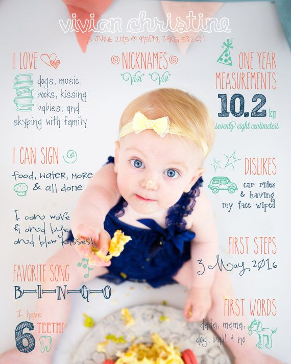 Primer cumpleaños dato divertido bebé por KatieJeanDesignsCo