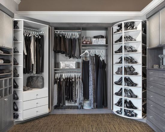 Transitional Closet With Double White Spinning Shoe Racks White Storage Drawers Stainless Steel Clothing Rack And Grey Stained Drawers