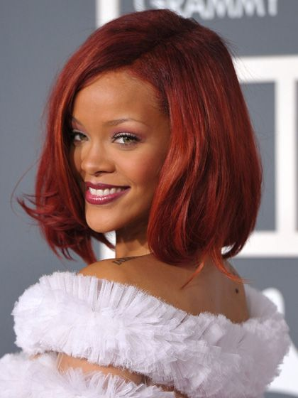 The Best Celebrity Hair-Color Inspiration for Winter: Rihanna's Marsala red hair | allure.com