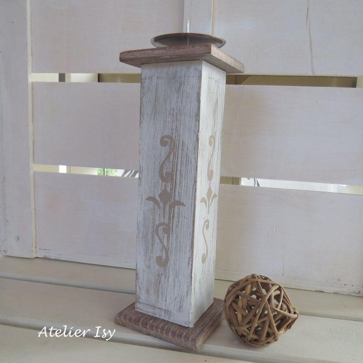 porta candela in legno