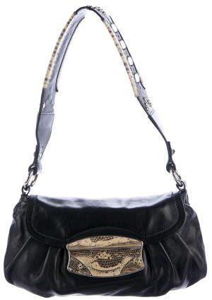 Prada Lizard-Trimmed Shoulder Bag