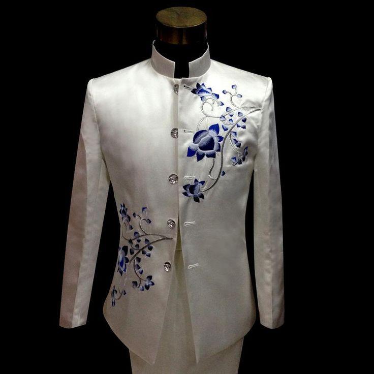 Zhongshan Plum Flower Embroidery Wedding Suits Tuxedos For Men Mens Suits With Pants Groom Suit Mens White Suit Pants, $121.47 | DHgate.com