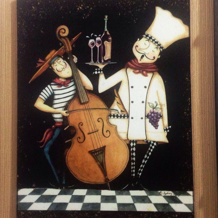 Cocineros musica vinos chef cocina cuadro pintura