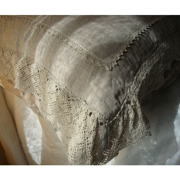 Soft gray linen pillow sham rustic chic stonewashed linen pillowcase... (€49) ❤ liked on Polyvore featuring home, bed & bath, bedding, bed sheets, lace pillow cases, linen pillowcases, linen shams, bed linen and linen bedding