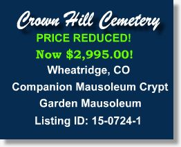 Buy Sell Plots Burial Spaces Cemetery Property for Sale Wheat Ridge Colorado