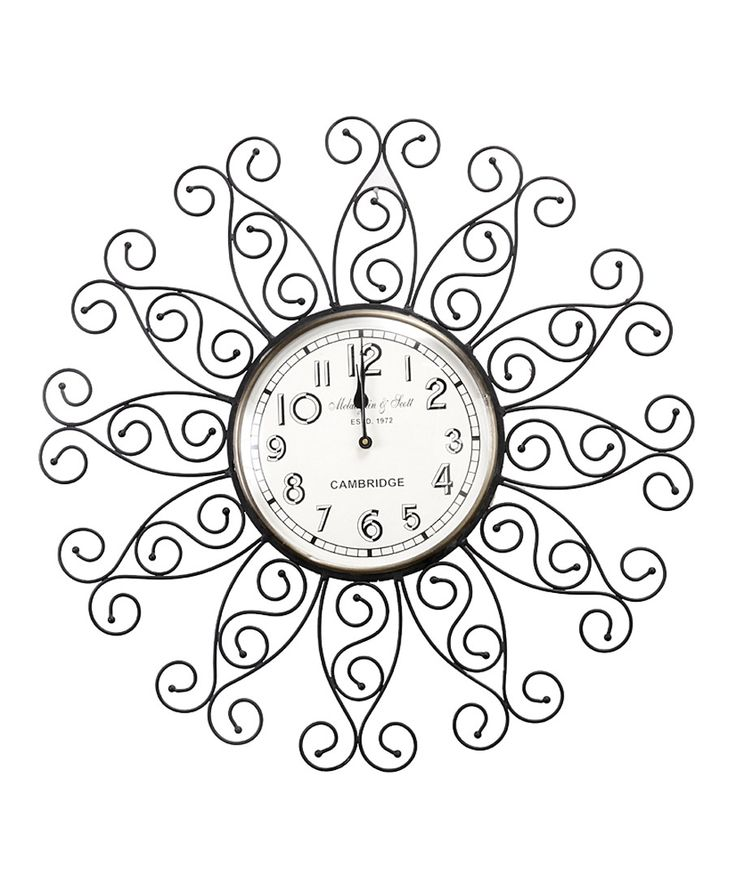 Classic Vintage Floral Iron Frame Decorative Wall Clock.