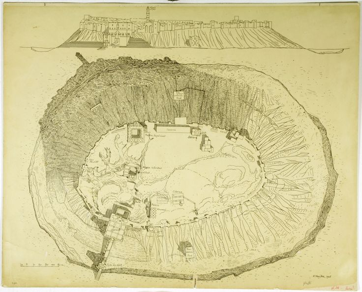 Plan and elevation of the Citadel of Aleppo, Syria