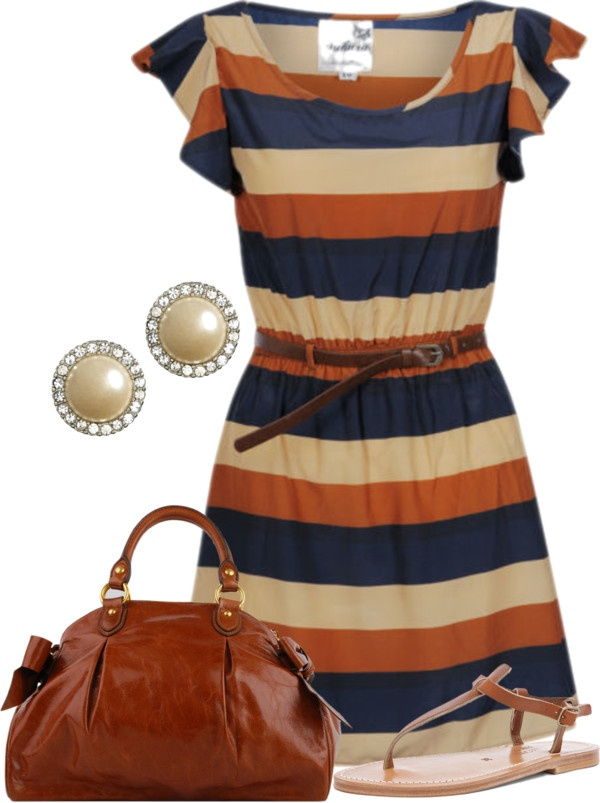"""""""Navy, Tan & Orange"""" by stay-at-home-mom ❤ liked on Polyvore Not sure I could pull it off but like it."""