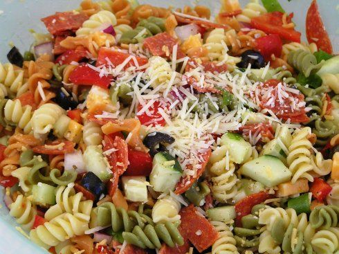 Pepperoni Pasta Salad. Tri color pasta, cucumber, blk olives, pepperoni,  red bell pepper,  onion, cheese, Italian dressing. Tasty!