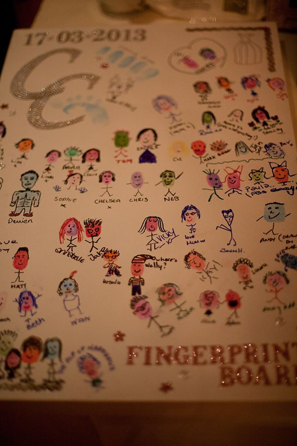 adorable idea for a guestbook. wedding guests leave a unique kind of signature: their own fingerprint people and names