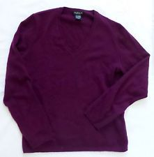 Lord & Taylor Womens Purple Maroon 100% Cashmere V-Neck Sweater Large CRAFTS