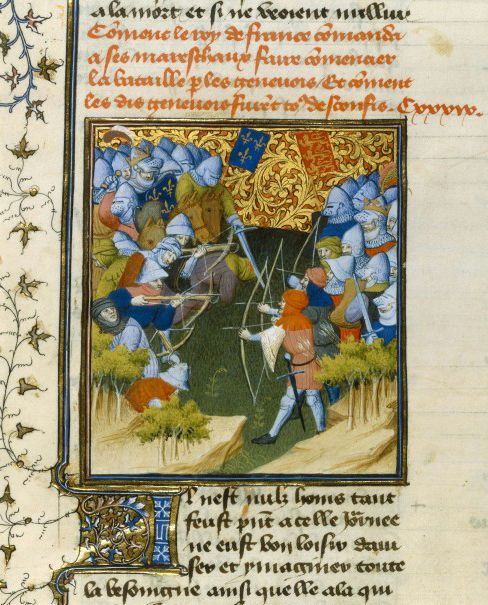 'Battle of Crecy', from an copy of Jean Froissart's Chroniques, made in France in the 1st quarter of the 15th century