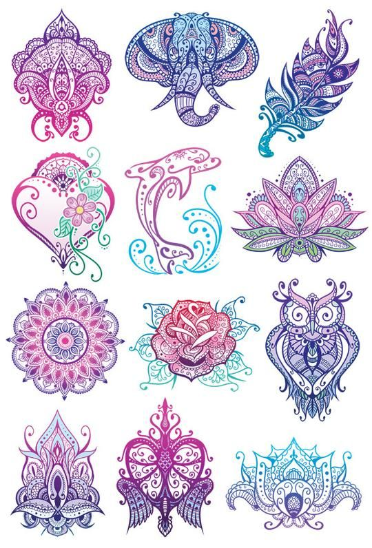 e28ee0a7c Mandala Glitter Temporary Tattoo Set | Casino tattoo | Tattoos ...
