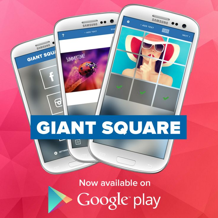 Giant Square is all-in-1 app that let's you do amazing things with your Instagram, Twitter and Facebook profile. - Create big pictures and banner pictures on Instagram. - Or use our Squaready feature to avoid cropping your pictures - Create unique pictures on Twitter - Create awesome collages tailored for your Facebook background