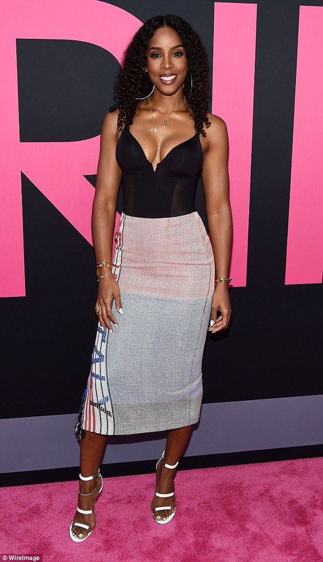 Busting out: Kelly Rowland, 36, put her impressive cleavage on display at the Los Angeles premiere of Girls Trip on Thursday night
