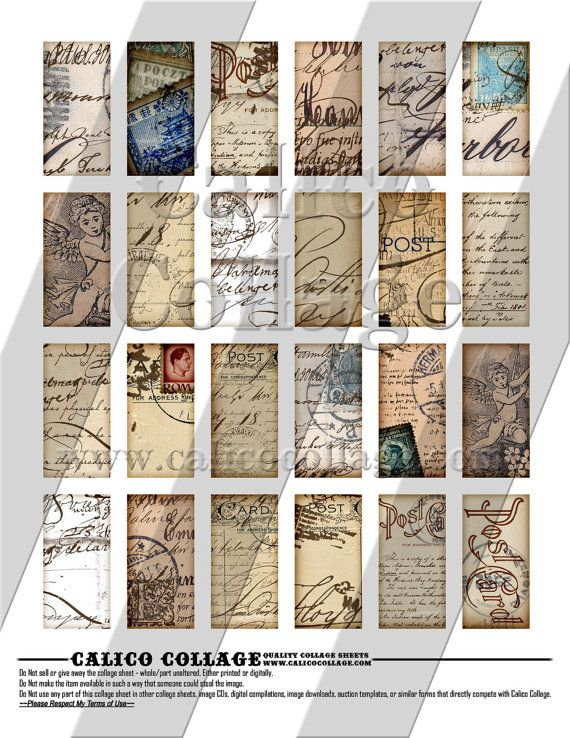 NEW Vintage Postcard Handwriting  Digital Collage by calicocollage, $3.75