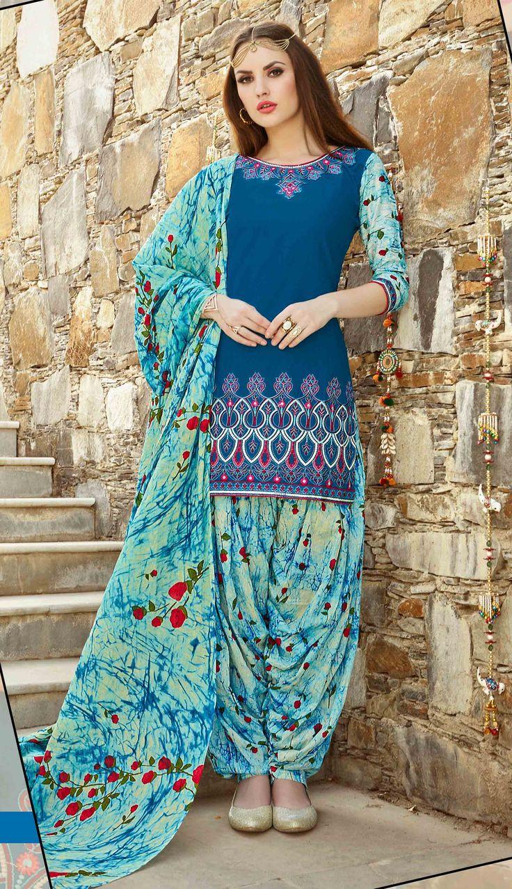 Fashionnow Blue Cotton Patiala Salwar Kameez