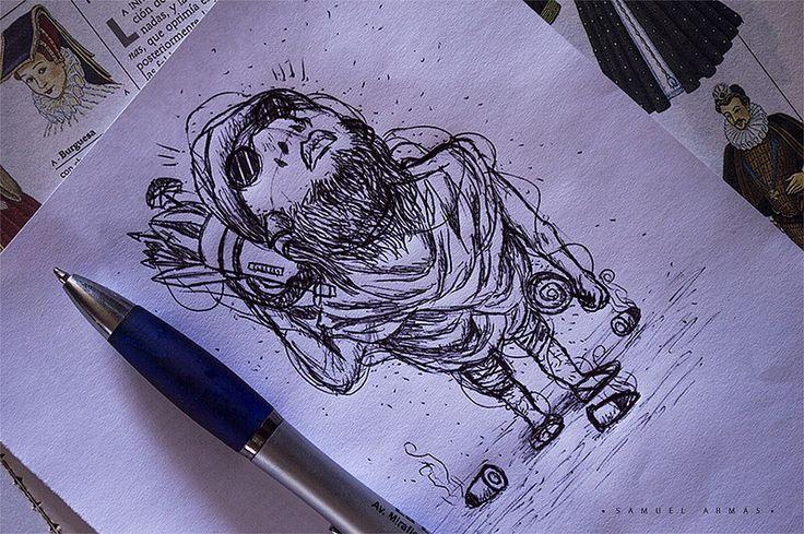 Un boceto chico de un personaje militar. Un poco de humor gráfico.  FACEBOOK: www.facebook.com/samuel.saldanaarmas.3