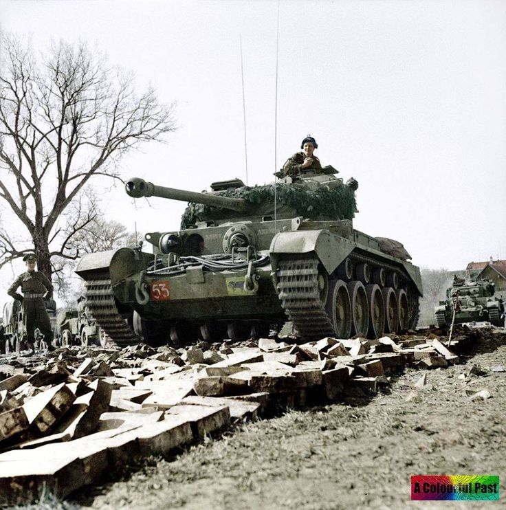 A-34 Comet Mk1 tank 'St. Andrew' of the 2nd Fife and Forfar Yeomanry, 29th Armoured Brigade, 11th Armoured Division, crossing the River Weser at Petershagen, Germany, 7 April 1945. #CometTank