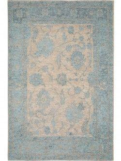 Flachgewebe Teppich Frencie Flora Blau