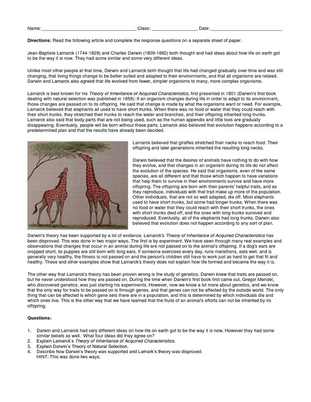 Lamarck vs Darwin Worksheet - St. Dominic High School