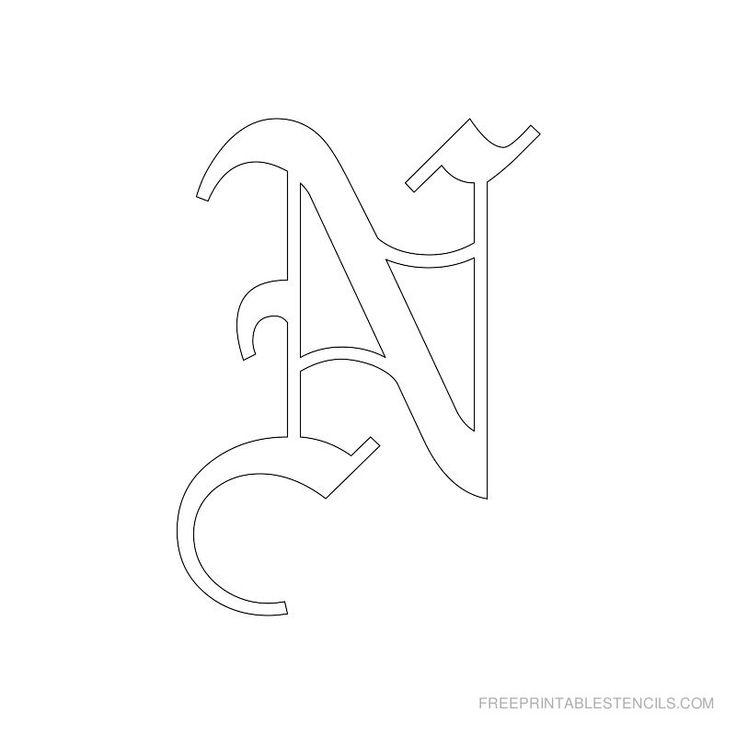 Printable Old English Alphabet Stencil N
