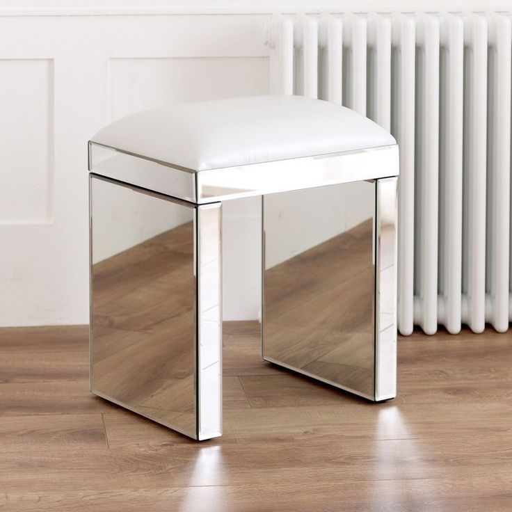 Best Mirrored White Bed Room Stool Glass Furniture Contemporary 400 x 300