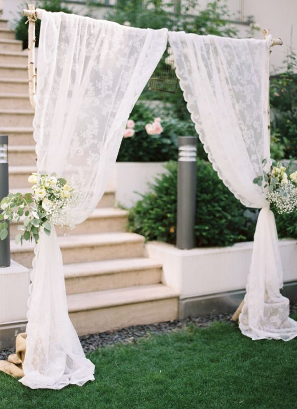 Such A Beautiful And Simple Birch Wedding Arbor Wedding Ceremony Decor Ideas Pinterest