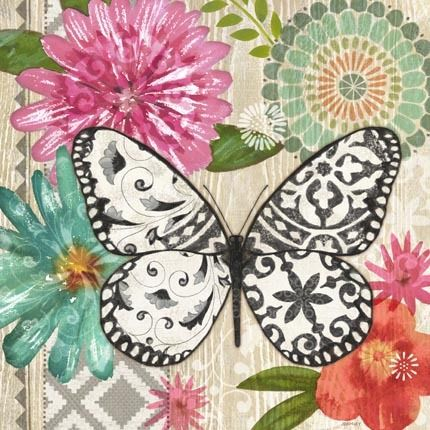 Floral Tile Butterfly Dream by Jennifer Brinley | Ruth Levison Design