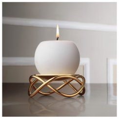 Georg Jensen Glow Stainless Steel & Gold Plate Candle Holder Living Collection