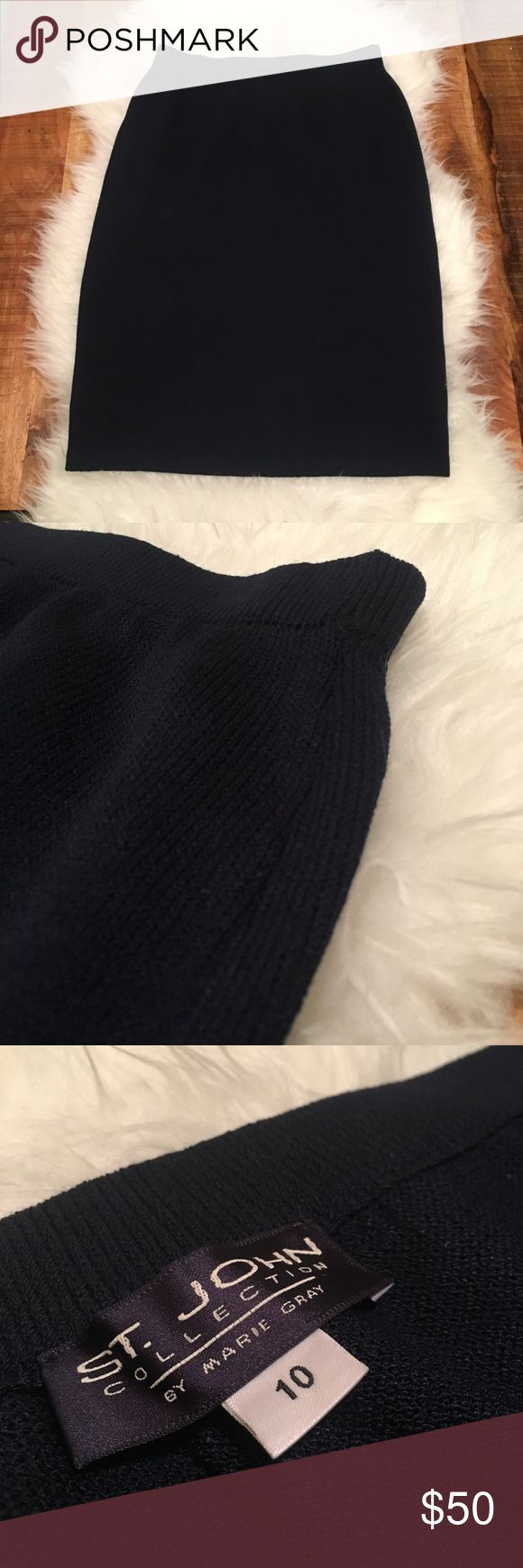 """St. John Basics Santana Knit Navy Pencil Skirt 10 Gently used. No flaws. Comes from pet free and smoke free home.   Waist flat and unstretched: 14"""" Length: 24"""" St. John Skirts Pencil"""