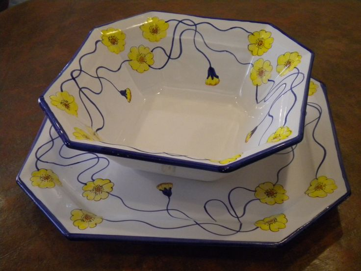 octagonal bowl and platter - Chini pattern revisited by Lorenza, Florence - www.sbigoliterrecotte.it