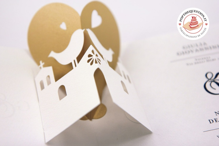 Partecipazioni di matrimonio pop-up. Una chiesa romantica. #wedding #popup #weddinginvitation