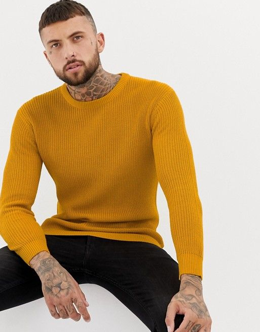 3e4c0f1a873 Bershka knitted sweater in mustard | Outfits | Sweaters, Men sweater ...