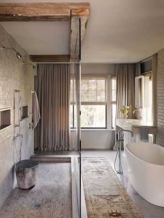 rustic modern bathroom freestanding tub reclaimed beams