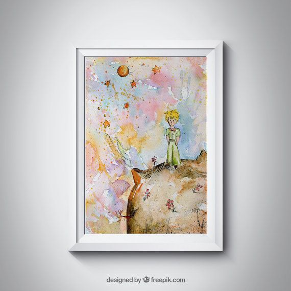 The Little Prince on a planet Print  https://www.etsy.com/uk/listing/454695952/the-little-prince-on-the-planet-le-petit