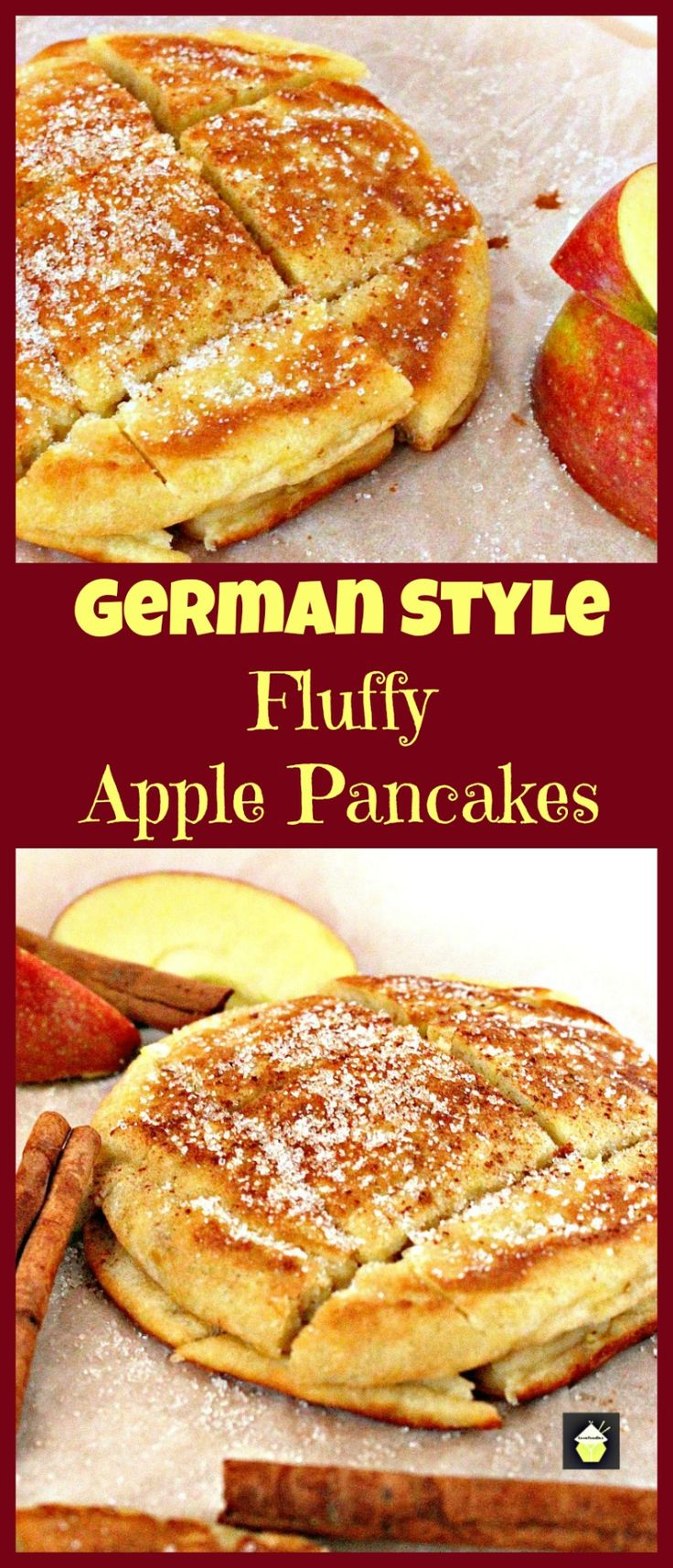 German Style Fluffy Apple Pancakes. Delicious, quick and easy recipe and these are certainly fluffy! Serve warm with a sprinkling of sugar and a dash of cinnamon.