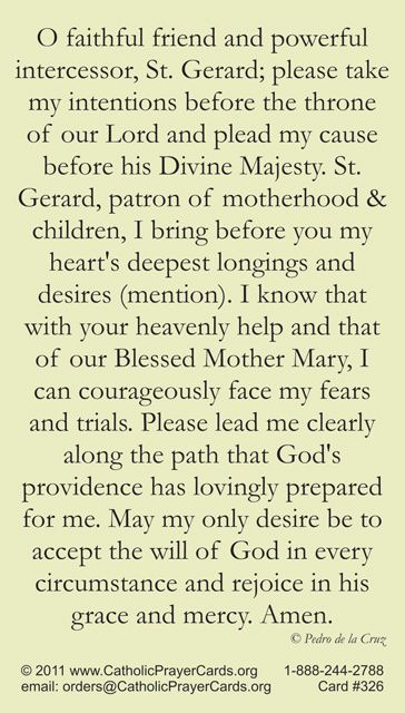 Prayer to St Gerard - Patron Saint of Pregnancy, Conception, Safe Childbirth, Motherhood, Young Children and the Unborn