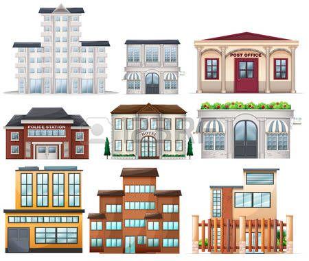 Иллюстрация из больших зданий на белом фоне photo