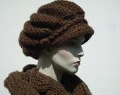 Woman Newsboy, Set Hat and Scarf, Brown Women Hat and Scarf, Hand Knit Hat, Womens Hats, Winter Cable Knit Newsboy, Women Scarves