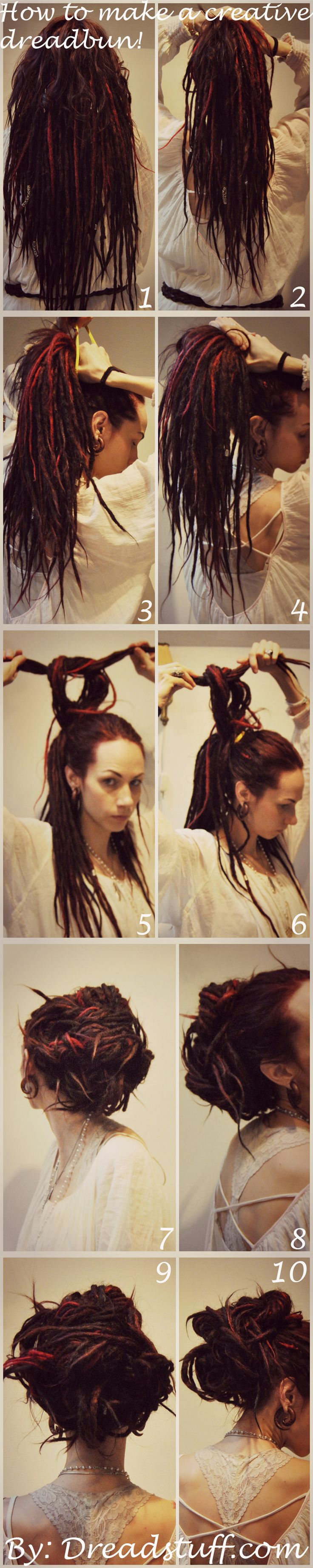 I've got a lot of questions about how I make some of my dreadlock updos, so I'm going to share how to do it here! =) 1. Here you can see my dreadlocks are just hanging straight, I've run my fingers...