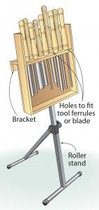 DIY Tip of the Day:  Wednesday February 5, 2014 --   Stowable stand keeps lathe tools on hand