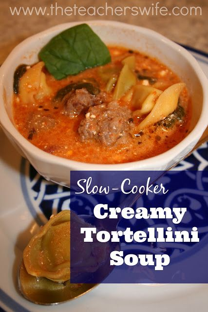 SLOW-COOKER CREAMY TORTELLINI SOUP.  This soup is hearty and so simple to make.  It's a perfect addition to your cold weather soup recipe arsenal!  Make this...seriously!: