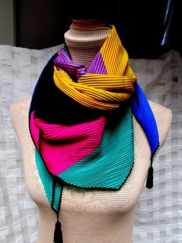 Color-Block-Silk-Plisse-Tassel-44-x-54-Square-Scarf-Gold-Purple-Black-Crochet-EU