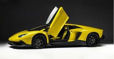 Lamborghini Aventador LP 720-4 50 Anniversario - jaune - 3/4 avant gauche, portes ouvertes