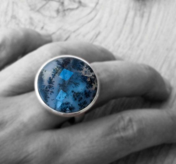 Natural Dendrite Opal Merilinite Ring Statement by SunSanJewelry
